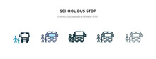 School Bus Stop Icon In Differ...
