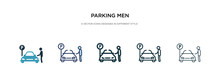 Parking Men Icon In Different Style Vector Illustration. Two Colored And Black Parking Men Vector Icons Designed In Filled, Outline, Line And Stroke Style Can Be Used For Web, Mobile, Ui