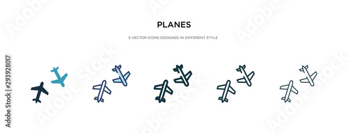planes icon in different style vector illustration Canvas Print