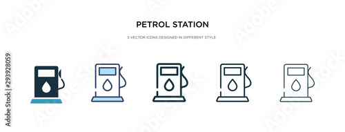 petrol station icon in different style vector illustration. two colored and black petrol station vector icons designed in filled, outline, line and stroke style can be used for web, mobile, ui