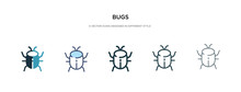 Bugs Icon In Different Style Vector Illustration. Two Colored And Black Bugs Vector Icons Designed In Filled, Outline, Line And Stroke Style Can Be Used For Web, Mobile, Ui