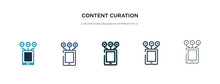 Content Curation Icon In Different Style Vector Illustration. Two Colored And Black Content Curation Vector Icons Designed In Filled, Outline, Line And Stroke Style Can Be Used For Web, Mobile, Ui
