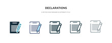 Declarations Icon In Different Style Vector Illustration. Two Colored And Black Declarations Vector Icons Designed In Filled, Outline, Line And Stroke Style Can Be Used For Web, Mobile, Ui