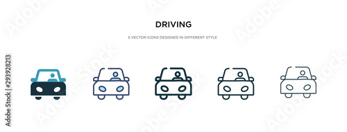 Cuadros en Lienzo driving icon in different style vector illustration
