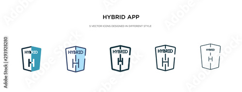 Foto hybrid app icon in different style vector illustration
