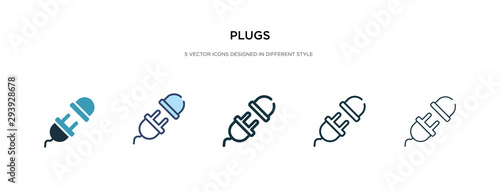 Fotografiet plugs icon in different style vector illustration