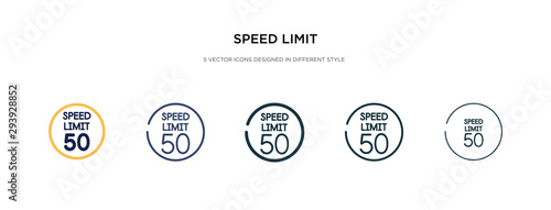 Fotografía  speed limit icon in different style vector illustration