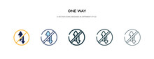 One Way Icon In Different Styl...