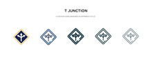 T Junction Icon In Different S...