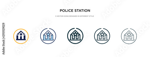 Fotomural police station icon in different style vector illustration