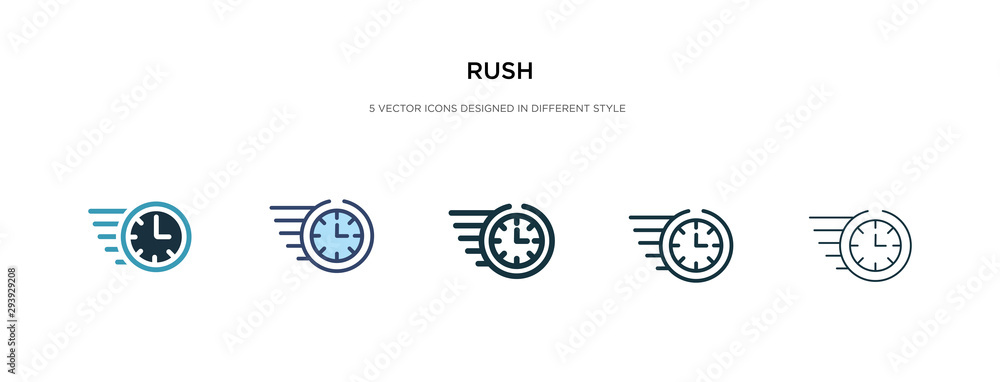 Fototapety, obrazy: rush icon in different style vector illustration. two colored and black rush vector icons designed in filled, outline, line and stroke style can be used for web, mobile, ui