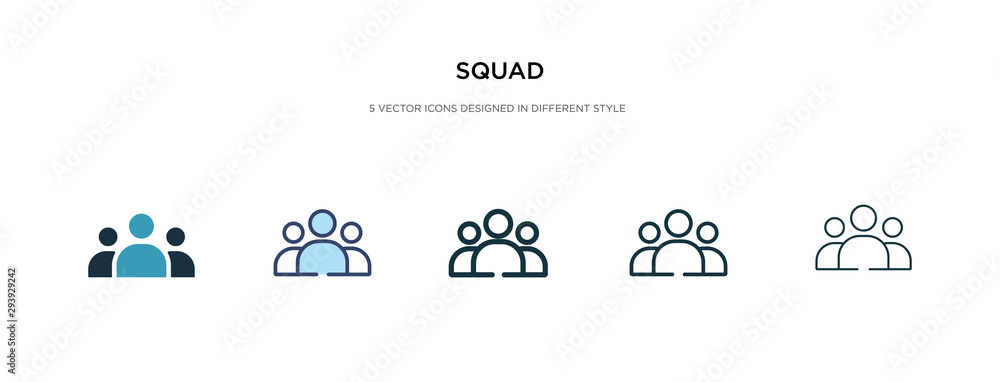 Fototapeta squad icon in different style vector illustration. two colored and black squad vector icons designed in filled, outline, line and stroke style can be used for web, mobile, ui