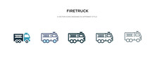 Firetruck Icon In Different Style Vector Illustration. Two Colored And Black Firetruck Vector Icons Designed In Filled, Outline, Line And Stroke Style Can Be Used For Web, Mobile, Ui