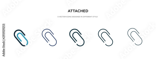 Photo attached icon in different style vector illustration