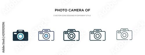 Fototapeta photo camera of rounded square shape icon in different style vector illustration. two colored and black photo camera of rounded square shape vector icons designed in filled, outline, line and stroke obraz