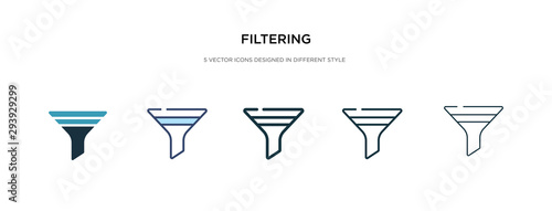 Fotografía filtering icon in different style vector illustration