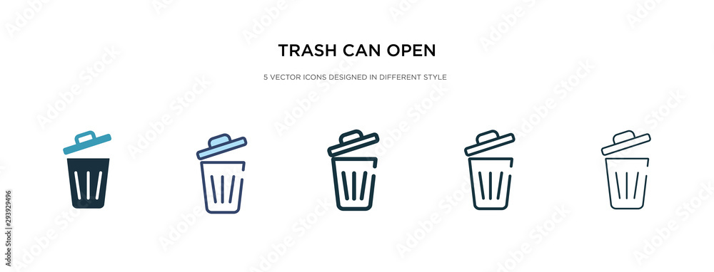 Fototapeta trash can open icon in different style vector illustration. two colored and black trash can open vector icons designed in filled, outline, line and stroke style can be used for web, mobile, ui