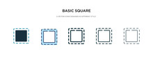 Basic Square Icon In Different Style Vector Illustration. Two Colored And Black Basic Square Vector Icons Designed In Filled, Outline, Line And Stroke Style Can Be Used For Web, Mobile, Ui