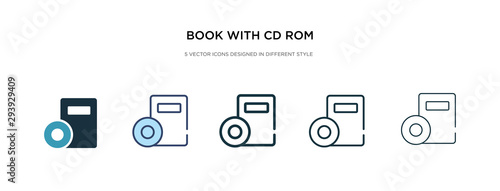 Obraz book with cd rom icon in different style vector illustration. two colored and black book with cd rom vector icons designed in filled, outline, line and stroke style can be used for web, mobile, ui - fototapety do salonu