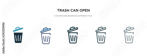 trash can open icon in different style vector illustration Wallpaper Mural