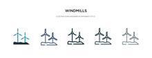 Windmills Icon In Different Style Vector Illustration. Two Colored And Black Windmills Vector Icons Designed In Filled, Outline, Line And Stroke Style Can Be Used For Web, Mobile, Ui