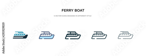 Fotografía ferry boat icon in different style vector illustration
