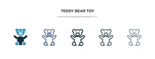 Teddy Bear Toy Icon In Differe...