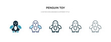 Penguin Toy Icon In Different Style Vector Illustration. Two Colored And Black Penguin Toy Vector Icons Designed In Filled, Outline, Line And Stroke Style Can Be Used For Web, Mobile, Ui