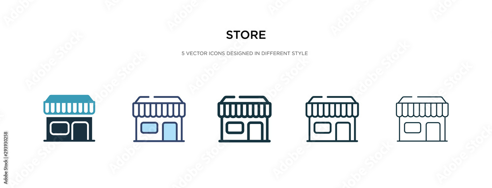 Fototapeta store icon in different style vector illustration. two colored and black store vector icons designed in filled, outline, line and stroke style can be used for web, mobile, ui