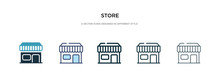 Store Icon In Different Style Vector Illustration. Two Colored And Black Store Vector Icons Designed In Filled, Outline, Line And Stroke Style Can Be Used For Web, Mobile, Ui