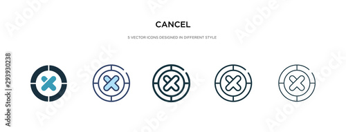 Foto cancel icon in different style vector illustration