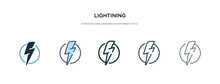 Lightining Icon In Different Style Vector Illustration. Two Colored And Black Lightining Vector Icons Designed In Filled, Outline, Line And Stroke Style Can Be Used For Web, Mobile, Ui
