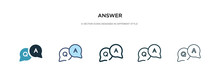 Answer Icon In Different Style Vector Illustration. Two Colored And Black Answer Vector Icons Designed In Filled, Outline, Line And Stroke Style Can Be Used For Web, Mobile, Ui