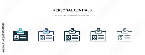 Photo personal centials icon in different style vector illustration