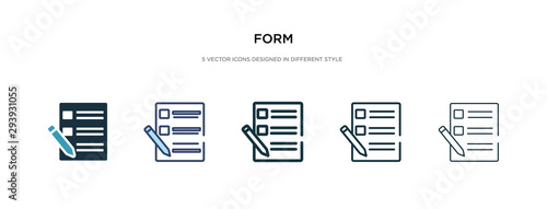 Fotografía form icon in different style vector illustration