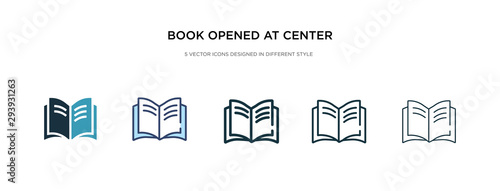 book opened at center icon in different style vector illustration. two colored and black book opened at center vector icons designed in filled, outline, line and stroke style can be used for web,