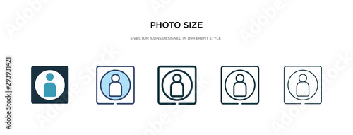 Photo photo size icon in different style vector illustration