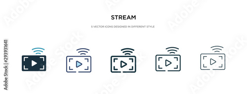 Fototapeta stream icon in different style vector illustration. two colored and black stream vector icons designed in filled, outline, line and stroke style can be used for web, mobile, ui obraz