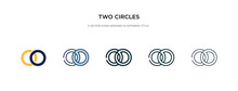 Two Circles Icon In Different Style Vector Illustration. Two Colored And Black Two Circles Vector Icons Designed In Filled, Outline, Line And Stroke Style Can Be Used For Web, Mobile, Ui