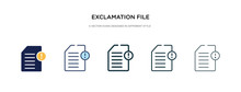Exclamation File Icon In Different Style Vector Illustration. Two Colored And Black Exclamation File Vector Icons Designed In Filled, Outline, Line And Stroke Style Can Be Used For Web, Mobile, Ui