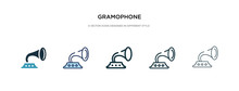Gramophone Icon In Different Style Vector Illustration. Two Colored And Black Gramophone Vector Icons Designed In Filled, Outline, Line And Stroke Style Can Be Used For Web, Mobile, Ui