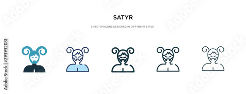 satyr icon in different style vector illustration Wallpaper Mural