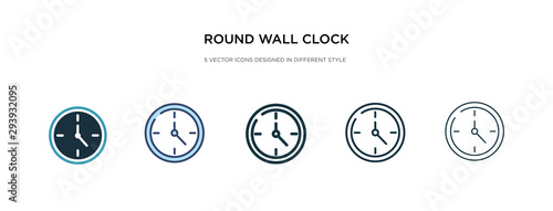 Fototapeta round wall clock icon in different style vector illustration. two colored and black round wall clock vector icons designed in filled, outline, line and stroke style can be used for web, mobile, ui obraz