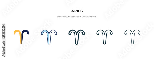 Photo aries icon in different style vector illustration