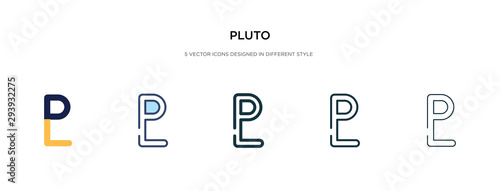 pluto icon in different style vector illustration Wallpaper Mural