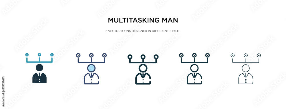 Fototapeta multitasking man icon in different style vector illustration. two colored and black multitasking man vector icons designed in filled, outline, line and stroke style can be used for web, mobile, ui