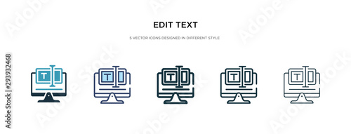 Obraz edit text icon in different style vector illustration. two colored and black edit text vector icons designed in filled, outline, line and stroke style can be used for web, mobile, ui - fototapety do salonu