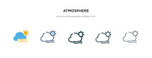 Atmosphere Icon In Different Style Vector Illustration. Two Colored And Black Atmosphere Vector Icons Designed In Filled, Outline, Line And Stroke Style Can Be Used For Web, Mobile, Ui
