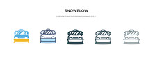 Snowplow Icon In Different Style Vector Illustration. Two Colored And Black Snowplow Vector Icons Designed In Filled, Outline, Line And Stroke Style Can Be Used For Web, Mobile, Ui