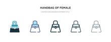 Handbag Of Female Icon In Different Style Vector Illustration. Two Colored And Black Handbag Of Female Vector Icons Designed In Filled, Outline, Line And Stroke Style Can Be Used For Web, Mobile, Ui
